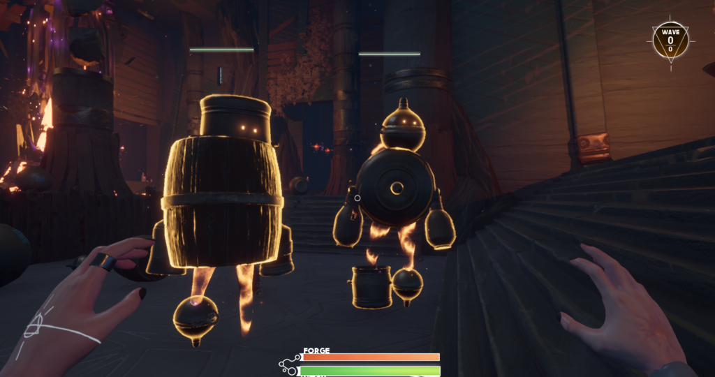 Screenshot of the game where we can see 2 golems facing the player
